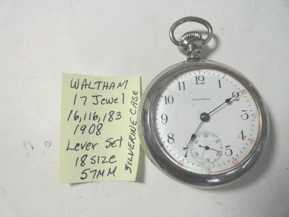 1908 Waltham Pocket Watch 17 Jewel Lever Set 18 Size 57mm Silverine Case Running