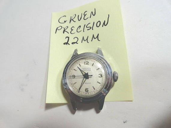 Vintage Gruen Precision Lady's Wrist Watch Parts or Repair 22mm