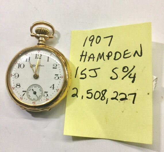 1907 Hampden Pocket Watch Gold Filled 15J S 0/4 2,508,227 Running 31mm