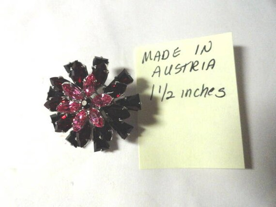 Vintage 1950s Rhinestone Brooch Pink and Wine Flower Motif Made in Austria  1 1/2 inches