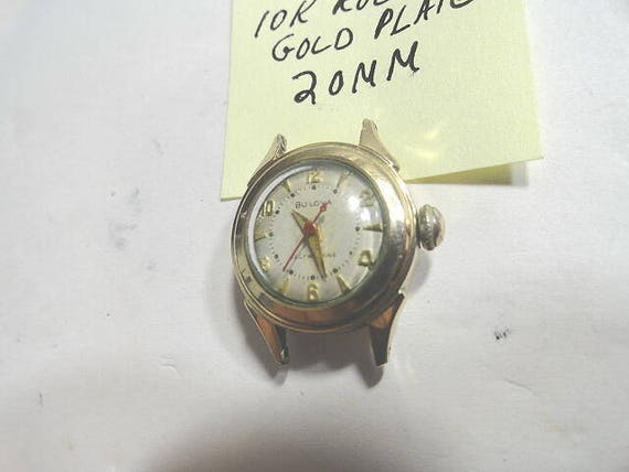 Vintage 1957 Bulova Ladys Automatic Wristwatch for Parts or Repair 10K Rolled Gold Plate Screwback 20mm