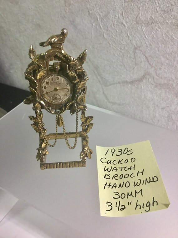 1930s Mepa Cuckoo Watch Brooch with Stand 30mm 31/2 inches with Stand