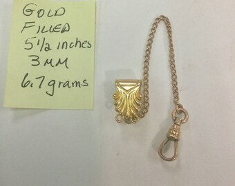 1910s Pocket Watch Chain Gold Filled 5 1/2 inches 3mm 6.7 grams