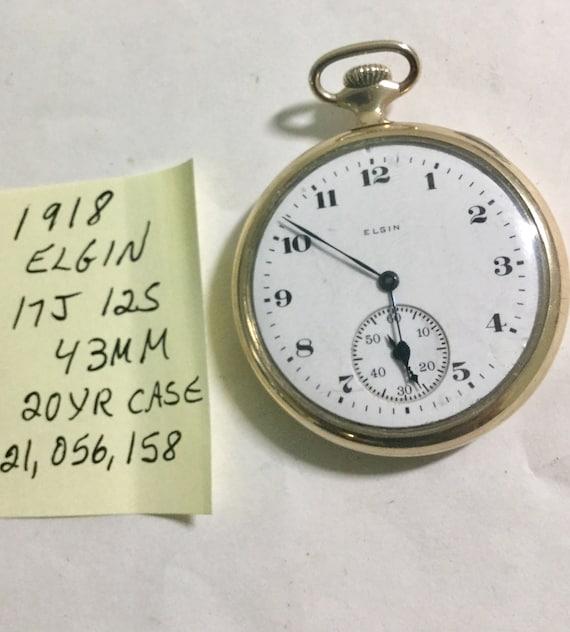 1918 Elgin Pocket Watch 17J. 12S 43mm Gold Filled Case Running