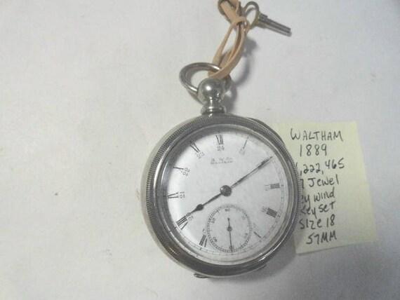 1889 Waltham Pocket Watch Key Wind Key Set 18 Size 57mm 7 Jewel Broadway Model Running
