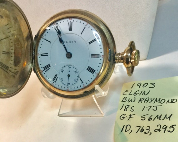 1903 Elgin BW Raymondd 17 Jewel Pocket Watch in 20 Year Gold Filled Case Size 18 56mm