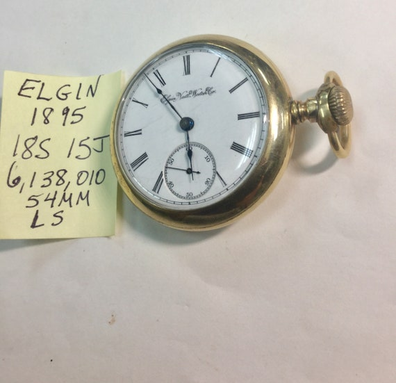 1895 Elgin Pocket Watch 15J 18S 54mm Gold Filled Case