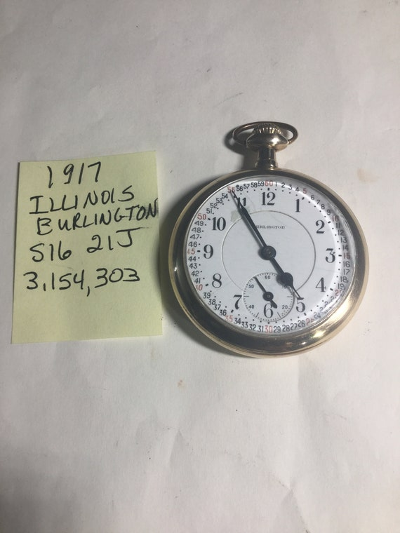 1917 Illinois Burlington Pocket Watch 21J Railroad Grade 16S 50mm Running