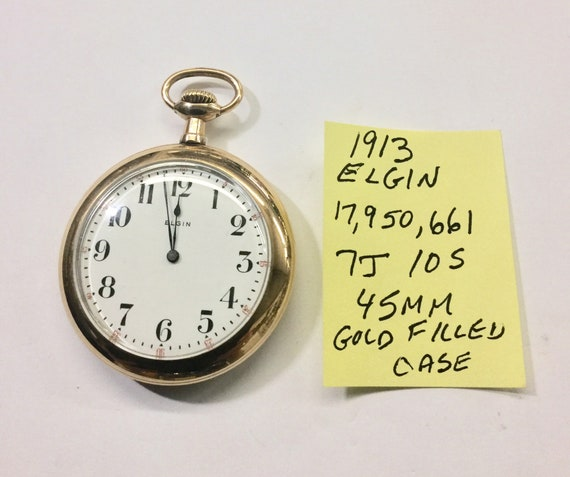 1913 Elgin Pocket Watch 10S 7J Running 45mm Gold Filled Case 17,950,661