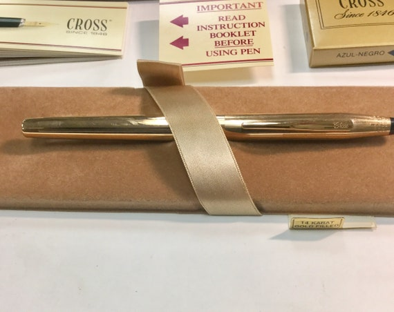 1950s Cross 14k Gold Filled Fountain Pen Unused with Original Box and Accessories