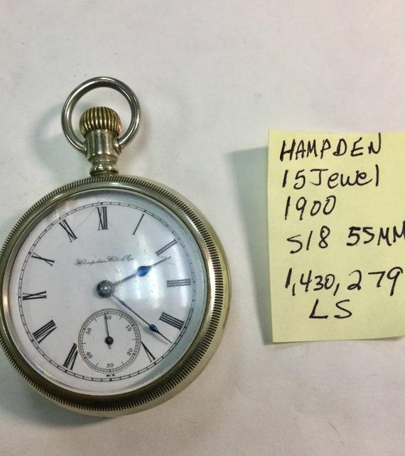 1900 Hampden Pocket Watch 15J 18S 55mm Running