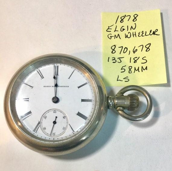 1878 Elgin Pocket Watch GM Wheeler 13 Jewel Running Size 18 58mm 870,678