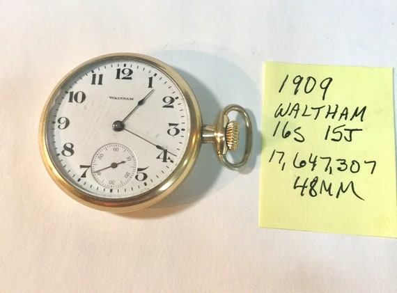 1909 Waltham Pocket Watch 15J 16 S 48mm Running 17,647,07