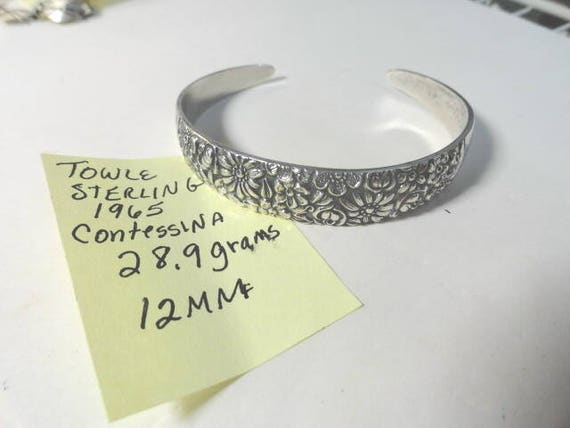 1965 Towle Sterling Silver Contessina Cuff Bracelet 12mm 28.9 Grams