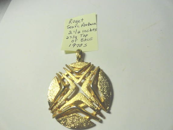 1970s Roget Modernist Gold Plated Pendant 2 1/4 Inches Retailed by Sears Roebuck