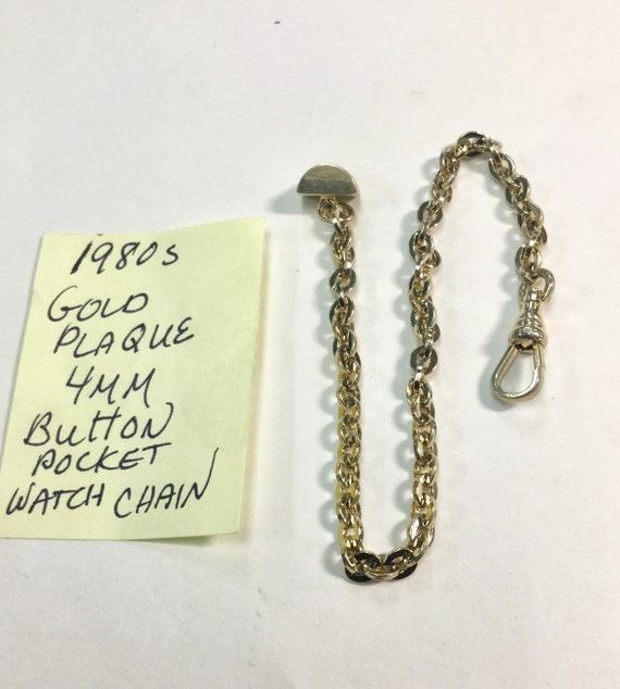 1980s Gold Plaque Pocket Watch Chain Button Style 8 inches 4mm