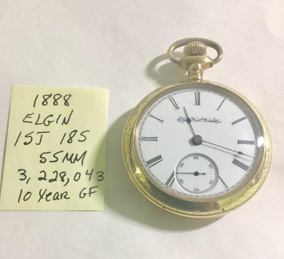 1888 Elgin Pocket Watch GM Wheeler 15J 18S 55mm Running
