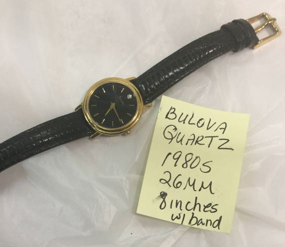 1980s Bulova Quartz Ladys Strap Wristwatch 26mm