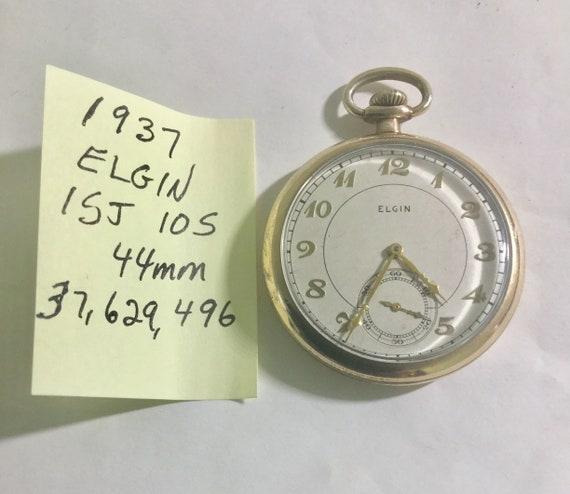 1937 Elgin Pocket Watch 15J 10S 44mm Running