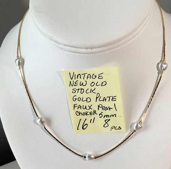 "Vintage New Old Stock Gold Plate Faux Pearl Necklace 16"" 5mm"