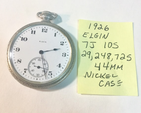1926 Elgin Pocket Watch 7J 10S 29,248,725 Running 44mm Nickel Case