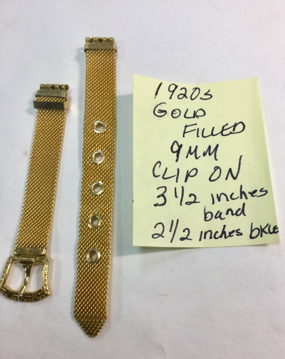 1920s Gold Filled Clip On Ladys Watch Band 9mm Ends