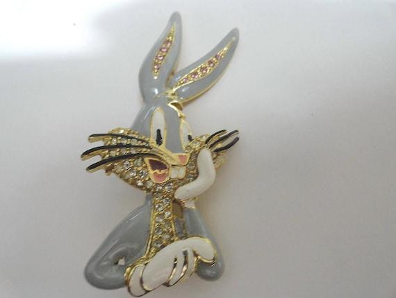 1960s  Bugs Bunny Enamel Brooch Pin 1 1/4 inch by 2 1/4 inch