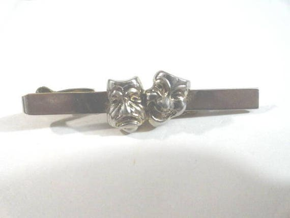 Vintage Pioneer Silver Tone Tie Bar Comedy Tragedy Faces   2 1/4 inch  by 1/4 inch