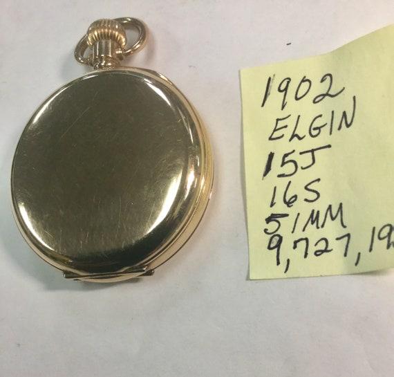 1902  Elgin 15J Hunting Case Gold Filled 16S 51mm Running