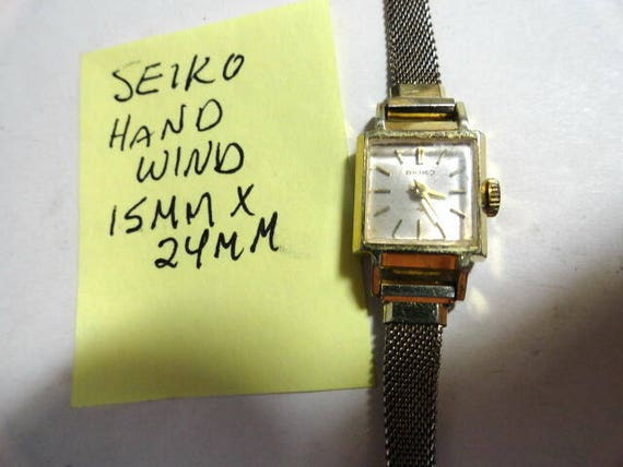 Vintage 1980s Seiko Ladys Hand Wind Gold Plate Wrist Watch 15mm by 24mm