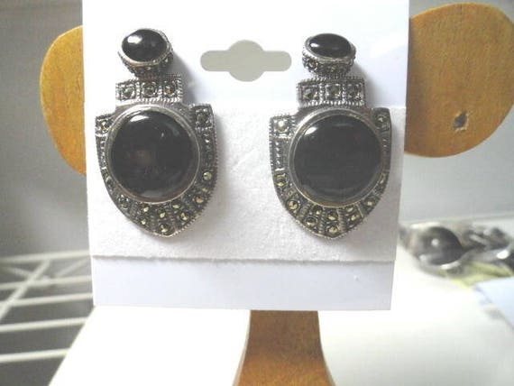 Vintage 1980s Sterling 925 Marcasite Onyx Clip on Earrings 18mm by 30mm 11.6 Grams