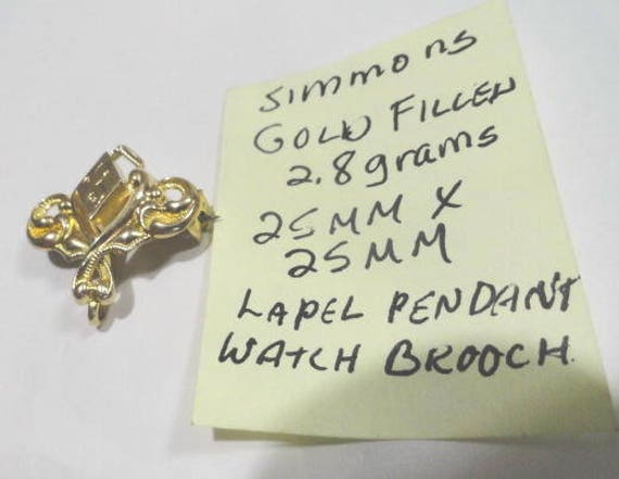 1910s Simmons Gold Filled Lapel Pendant or Watch Brooch 25mm by 25mm 2.8 grams