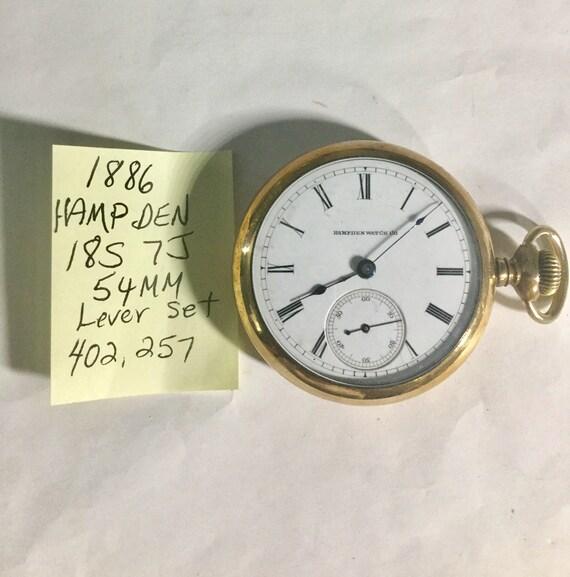 1886 Hampden Pocket Watch 18S 7J 54mm Lever Set Locomotive Back