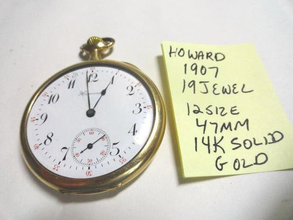 1907 Howard 14K Solid Gold Case 19 Jewel Pocket Watch 12 Size 47mm Case Running