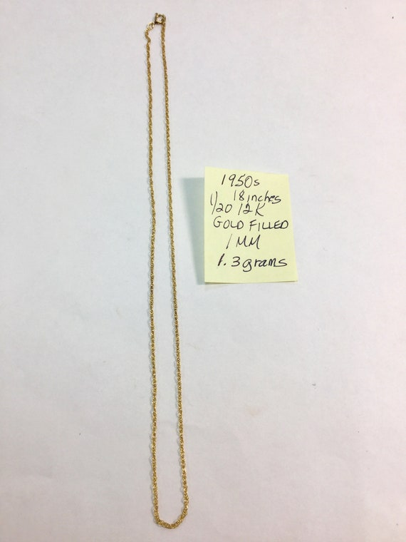 1950s Gold Filled 18 inch Pendant Chain 1mm 1.3 grams