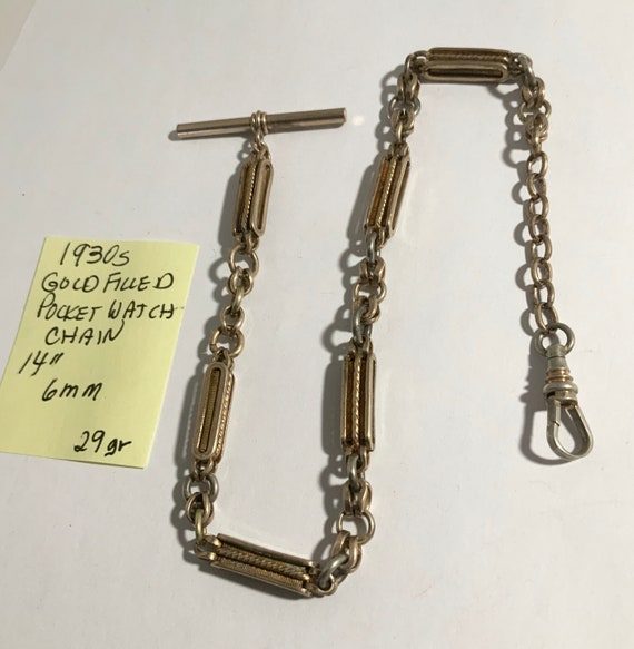 "1930s Gold Filled Pocket Watch Chain 14"" 6mm 29gr"