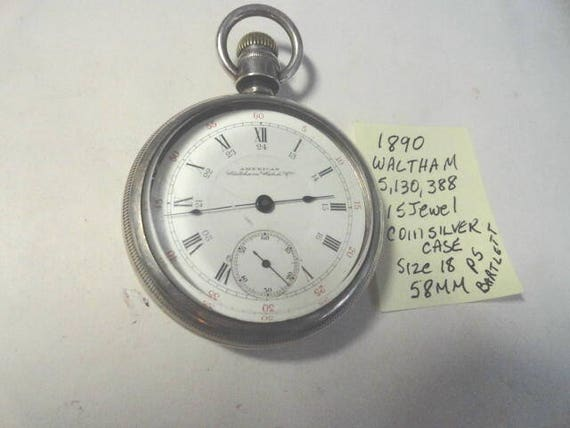 1890 PS Bartlett Waltham 15 Jewel Pocket Watch Size 18 Coin Silver Case 58mm Running