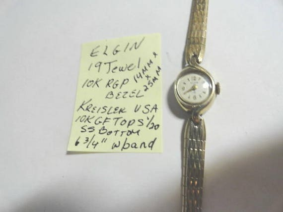 Vintage 1960s Ladys Elgin Wrist Watch 19  Jewel Gold Filled with Gold Filled Band 14mm by 25mm  6 3/4 Inch Kreisler Band