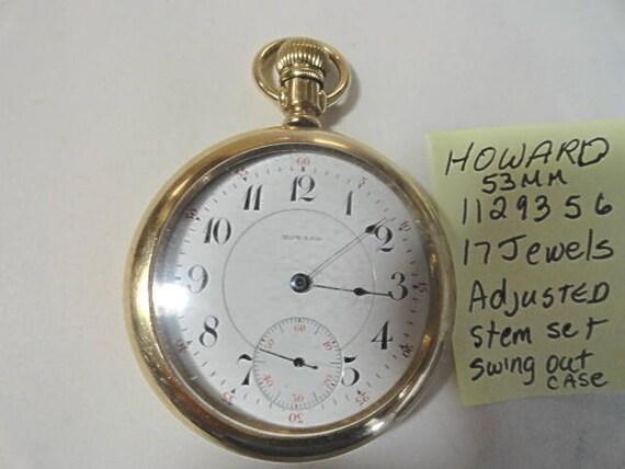 E. Howard Boston USA 17 Jewel Pocket Watch Stem Set Swing Out Howard Case 53mm Movement number 1129356