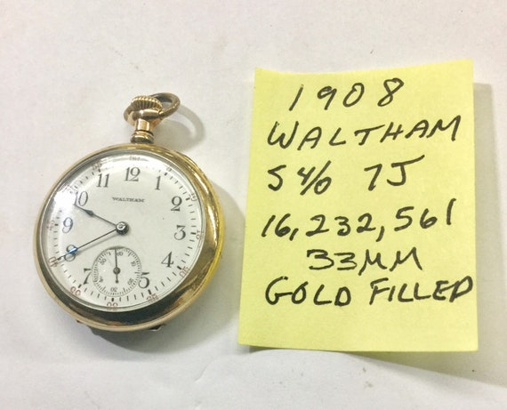 1908 Waltham Pocket Watch S4/0 7J Running 33mm Gold Filled Case 16,232,561