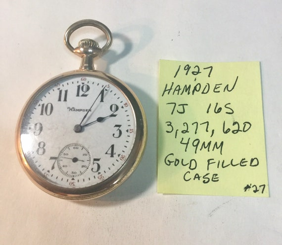1927 Hampden Pocket Watch 7J 16S 3,277,620 Gold Filled Case 49mm Running