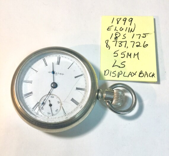 1899 Elgin Pocket Watch 18 Size with Screw on Display Back 17 Jewel Running 56mm