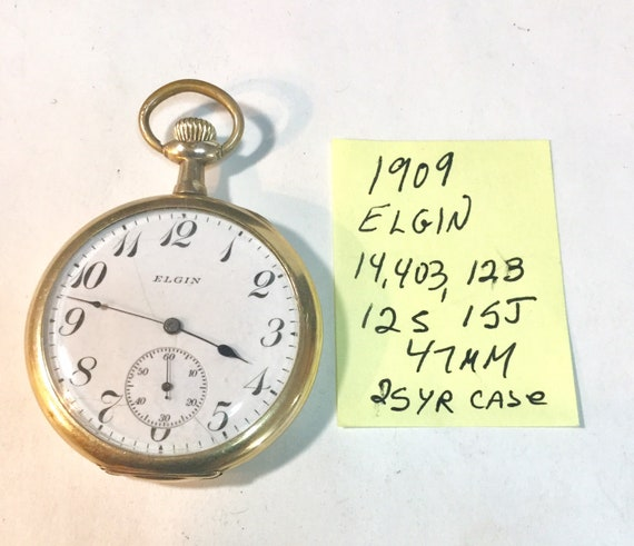 1909 Elgin Pocket Watch 15J 12S Gold Filled Case 47mm Running 14,03,123