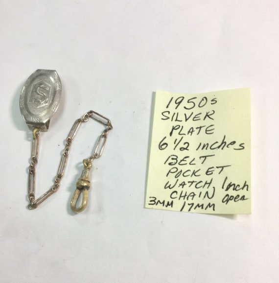 1950s Silver. Plate Pocket Watch Chain Fits 1 inch Belt 6 1/2 inches long