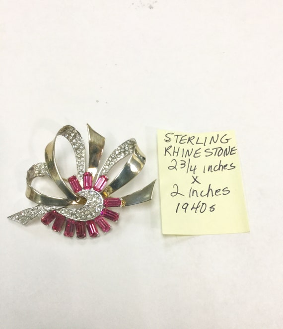 1940s Sterling Silver Rhinestone Brooch 2 3/4 inches by 2 inches 24.6 grams