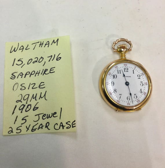 1906 Waltham 15J  Pocket Watch 29mm 15,020,716 Gold Filled Case
