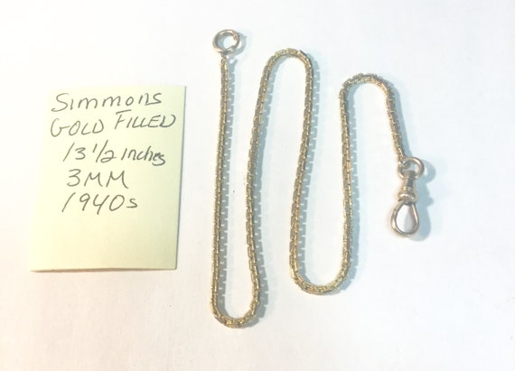 1940s Simmons Gold Filled Pocket Watch Chain 13 1/2 inches 3mm