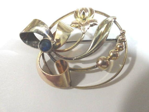 1940s  Gold Filled Rhinestone Brooch Pin 2 Inches