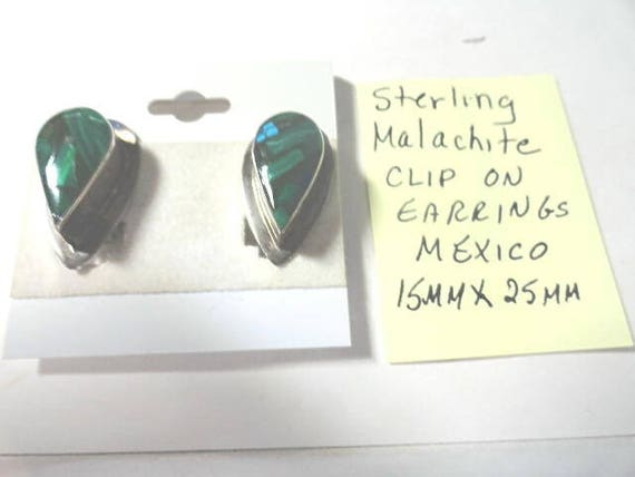 1940s Sterling Silver  Malachite Clip On Earrings Mexico 15mm by 25mm