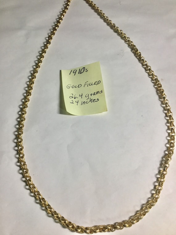 1910s Gold Filled Fancy Link Chain 24 inches 4mm 26.4 grams
